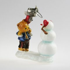 Bear and banny building snowman