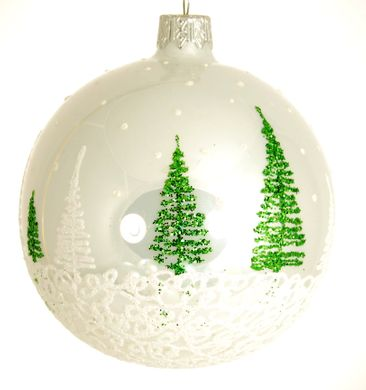Round dance of christmas trees on white